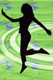 silhouette of girl with digital music player poster