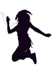 silhouette with clipping path of girl with digital poster