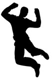 silhouette with clipping path of man jumping poster