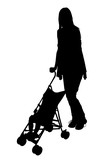 silhouette with clipping path of woman with stroll poster