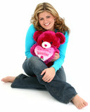 blonde woman hugging bear poster