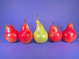 five european pears (one green)