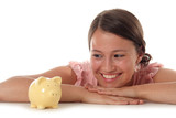 young woman looking at piggy bank poster