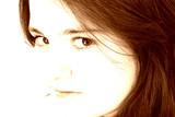 beautiful teen girl in brown tones poster