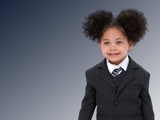 beautiful little business woman in suit and tie ov poster