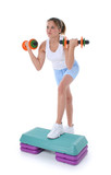 beautiful young teen girl on aerobic step with han poster