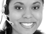 beautiful receptionist wearing headset in black an poster