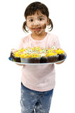 adorable toddler girl with cupcakes poster