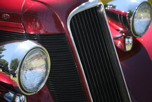 vintage car headlights and grill