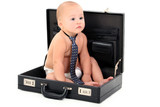 adorable baby wearing diaper and tie sitting in br poster