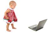 beautiful toddler girl walking towards laptop comp poster