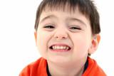 close up of toddler boy smiling poster
