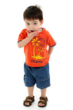 adorable toddler boy making silly faces poster