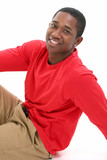casual young man in long sleeve red shirt poster