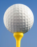 golfball against blue sky poster