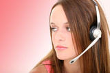 beautiful teen girl with headset poster