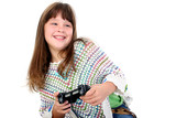 adorable little girl playing video games poster