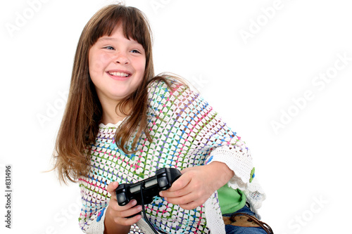 poster of adorable little girl playing video games