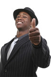 businessman in suit and hat giving the thumbs up poster