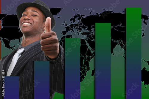 businessman with thumb up over rising graph backgr