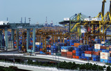 singapore: harbor, containers poster