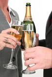 close-up business couple pouring champagne poster