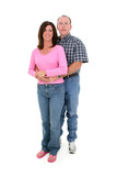 casual couple standing together over white poster