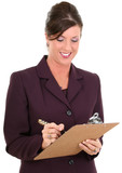 beautiful businesswoman taking notes poster