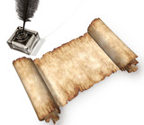 roll of parchment isolated on white 3d still-life poster