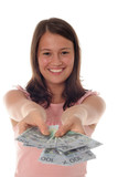 woman offering money poster