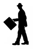 silhouette with clipping path of business man with briefcase and poster