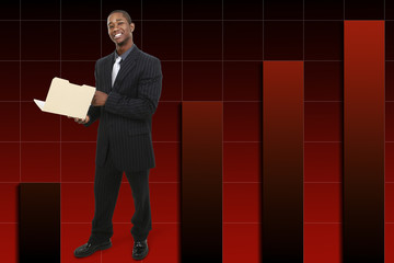 businessman with thumb up over rising graph background.