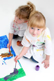young friends painting together poster
