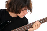 stock photography: young teen boy playing bass gui poster