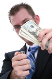 business man burning money poster