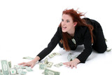 crazed business woman grabbing money from floor poster