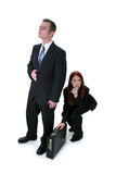 beautiful business woman stealing briefcase full o poster