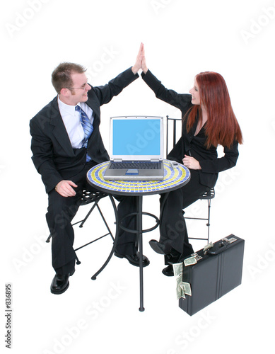 poster of business team high five