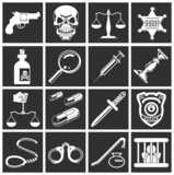 law, order, police and crime icons poster