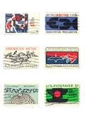 stamps: us vintage stamps 5 cent poster