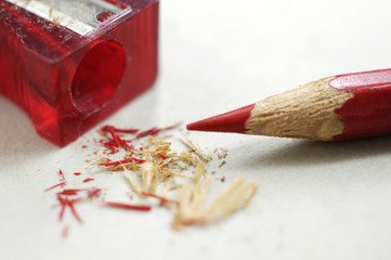 red pencil and shavings