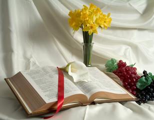 bible and daffodils