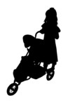 silhouette with clipping path of child with stroll poster