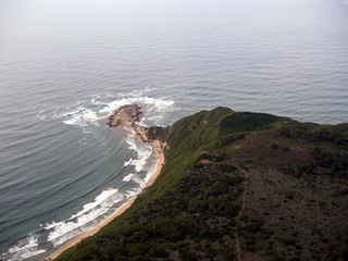 aerial view of deserted coastline