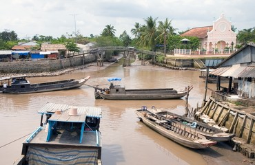 boats in the mekong delta
