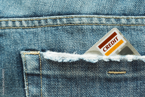 credit card and jeans