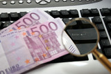 keyboard and cash euro poster