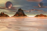 lava mountains alien spheres poster
