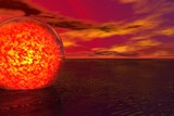 red sphere of lava poster