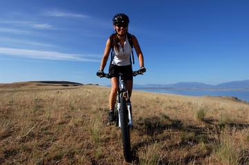 woman on mountain bike